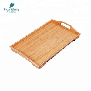 2 Handles Wood Breakfast Bed Serving Tray Bamboo Food Tray
