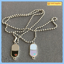 Custom promotional metal collar pins with necklace
