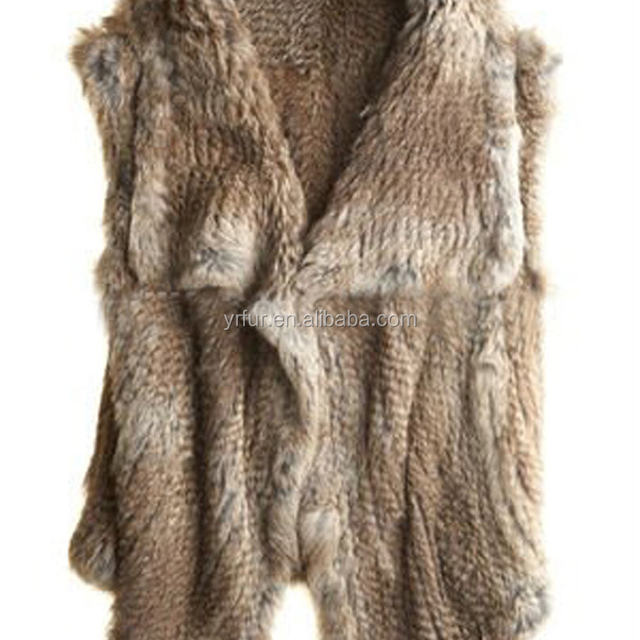 YR848 European Style Big Collar Real Rabbit Fur Hand Knit Fur Vest for Women