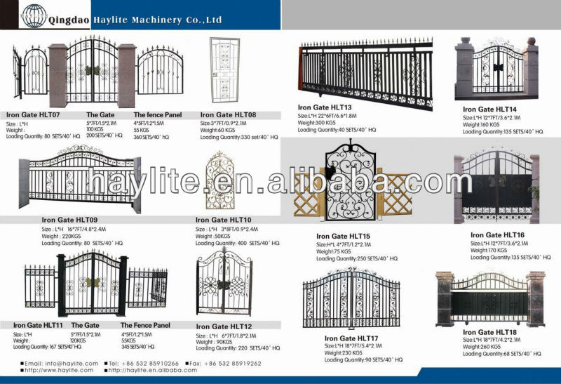 Wrought forged automatic swing sliding fence driveway iron gate
