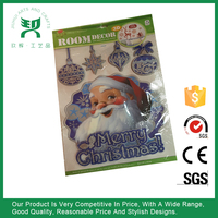 3d christmas sticker/glitter window christmas sticker/pvc window christmas sticker/2016 christmas sticker