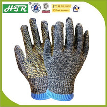 HTR customized Anti cut 10 guage Aramid yarn knitted with PVC dots gloves