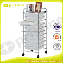 High quality plastic drawer 10 Drawer Rainbow Rolling Storage Hair Salon Cart
