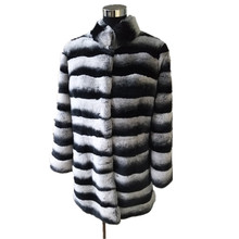 women's real chinchilla dyed rex rabbit fur coat /Long coat