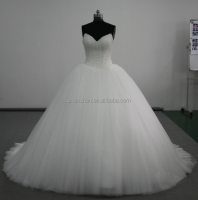 Real Picture MN-W213 White Low Cut Big Tulle Ball Gown Skirt Corset Bridal Wedding Gowns