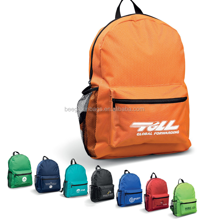 BeeGreen cheap 600D polyester wholesale blank school backpack with custom logo