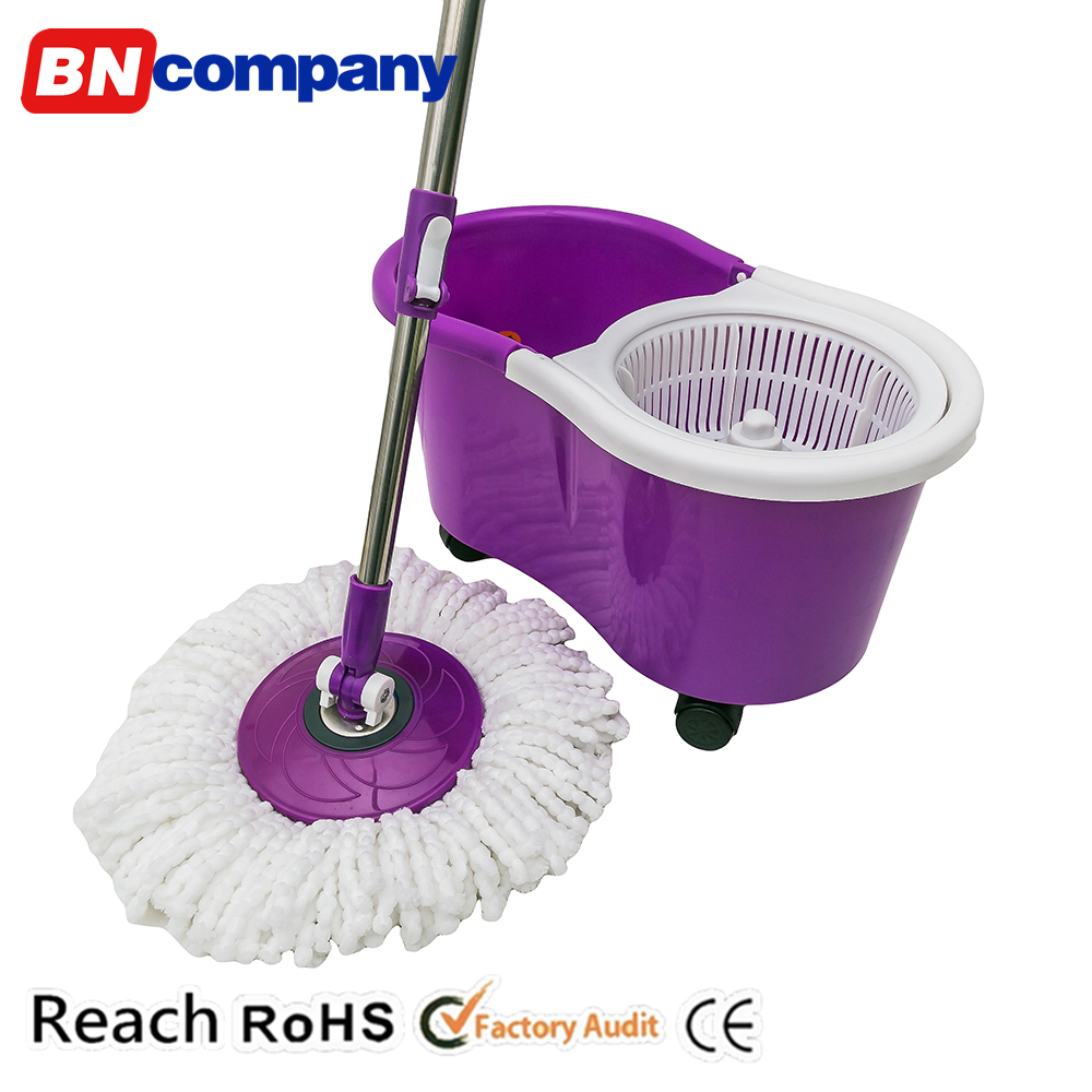 360 Degree Super Mop Spin Cleaning Dry Bucket 2 Heads without Pedal Car Cleaner Swivel Mop