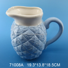 Popular large capacity blue and white pineapple ceramic milk jug,ceramic pineapple water pitcher,pineapple milk pitcher