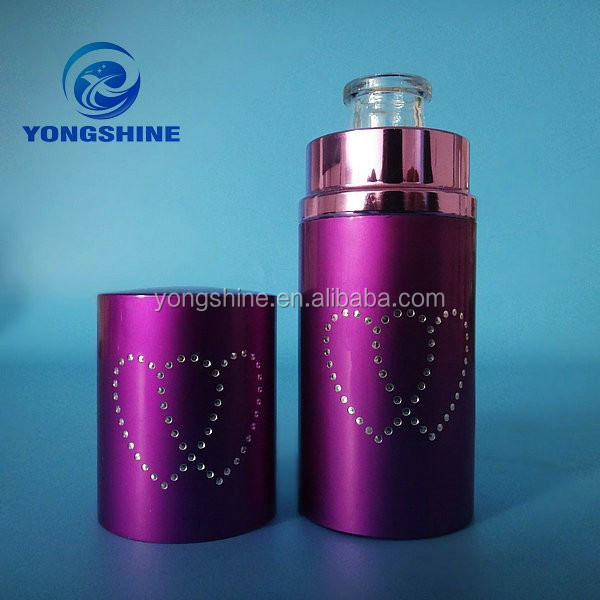 cylindrical purple 50ml glass perfume bottle glass with pump sprayer