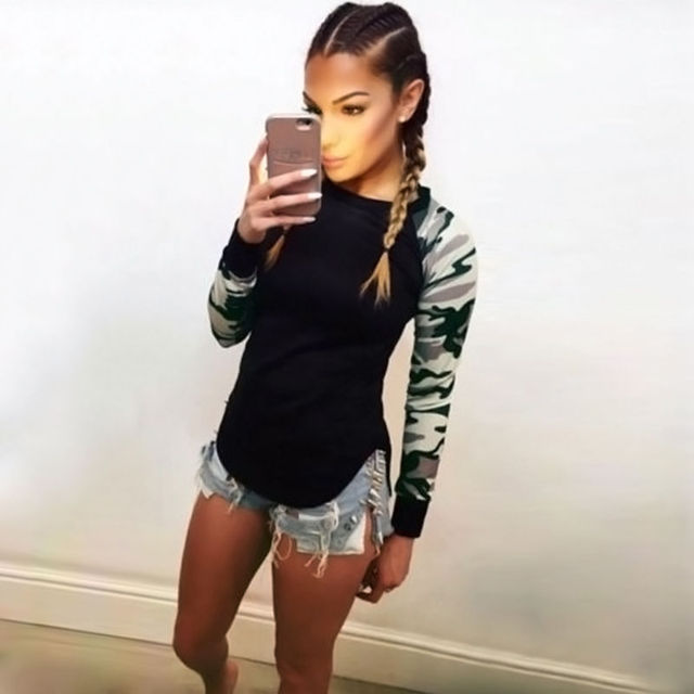 Fashion Women's Camouflage Army Long Sleeve Tops T-Shirts Autumn Casual Blouse