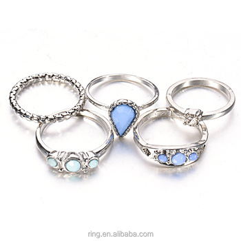 New design ladies silver simple ring set wholesale for girls