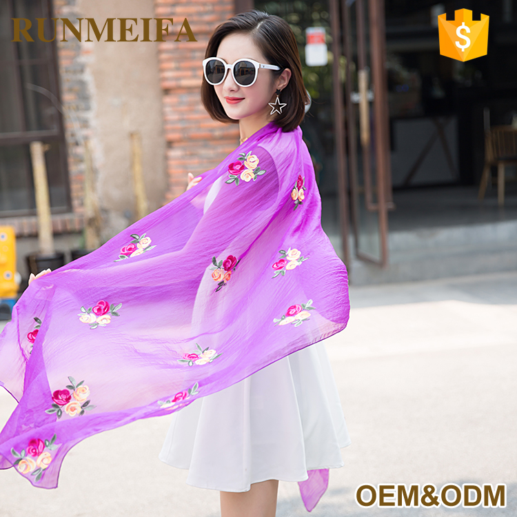 2017 Fashion Small Flowers Cotton Hand Embroidery Scarf