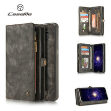 Online selling 4g mobile phone case for Samsung note 8 leather wallet with 10 credit card slots 1 zip pocket