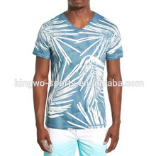 T shirts custom printing full floral printed men's v-neck t-shirts personalized t-shirt