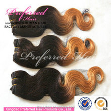 Grade 7a curly 3 tone color ombre hair weaves