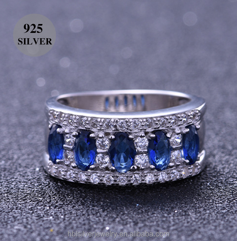 Rhodium plated 925 silver engagement ring wedding jewelry with blue stones