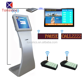 bank/hospital/clinic wireless queue management system kiosk of tonsincs 14 years factory manufacturer