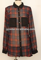ladies fashionable woven chiffon check shirt,women check shirt