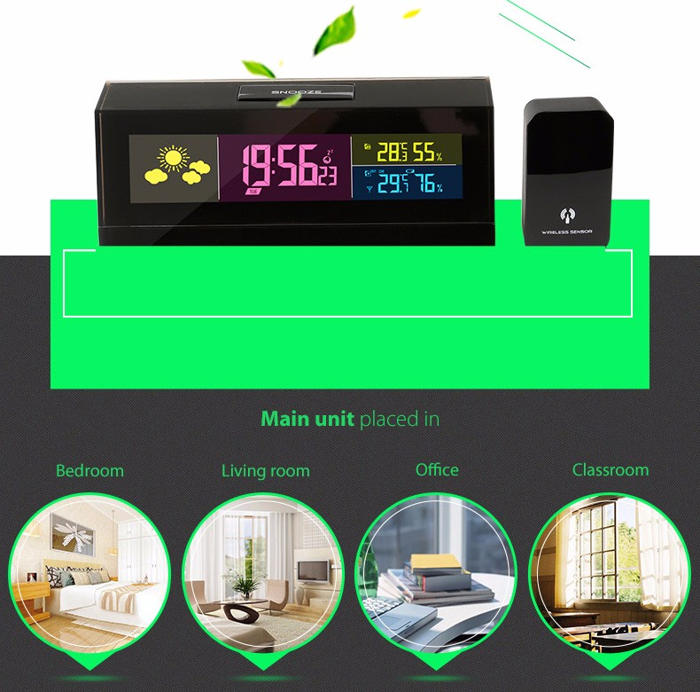 Best Quality Crystal Radio Wave Bedroom Alarm Clock With Weather Station