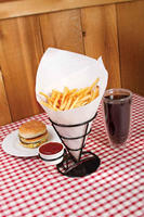 Wire french fry holder with condiment stand