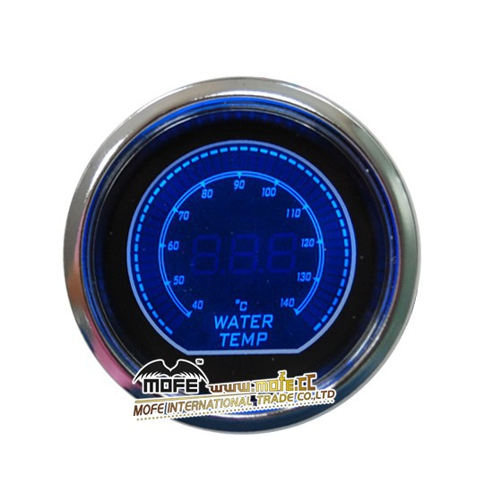 "Blue Digital Universal 52mm 2"" Stepper Motor Blue/ Red LCD Display Water Temp. Temperature Gauge With Sensor"