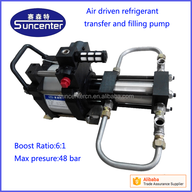 Pneumatic 1bar-48 bar high pressure freon transfer/recovery/filling pump