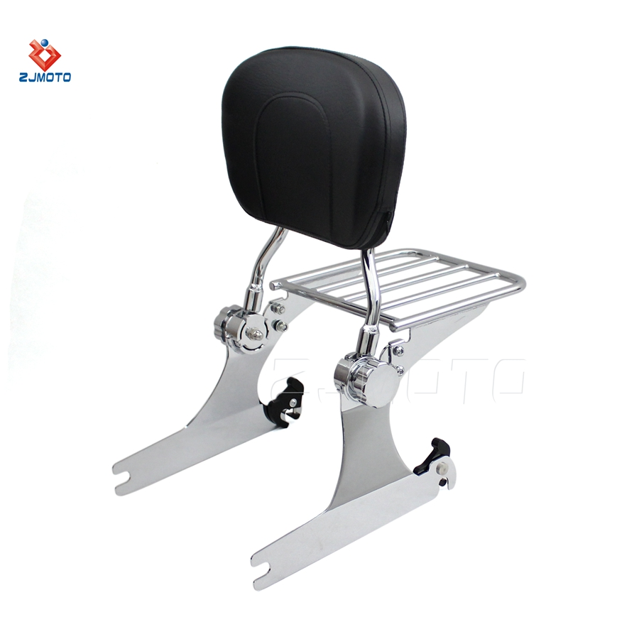 High Quality Billet Aluminum Steel And Leather Adjustable-Detachable-Backrest-Sissy-Bar-Luggage-Rack For 2006 up Dyna models