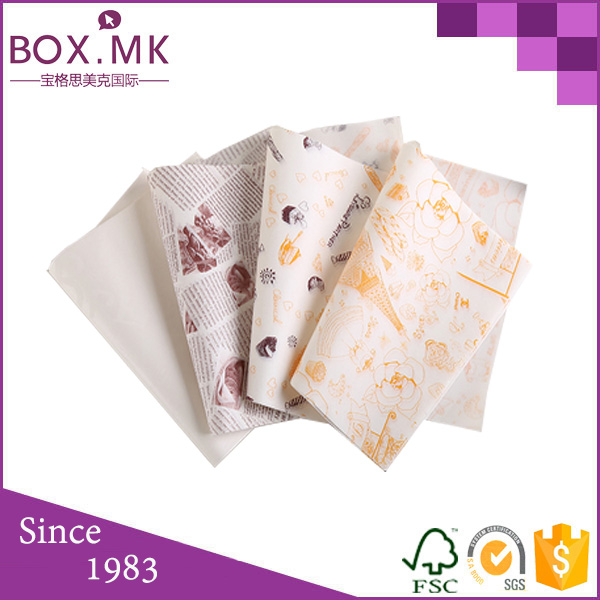 Logo Custom Wax Paper For Food Baskets