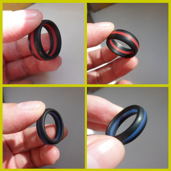 2017 hot sell high quality sporting outdoor segmented color silicone rubber finger ring for men and women
