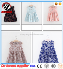Hot sale baby handmade smocked dress cotton linen girl's dress