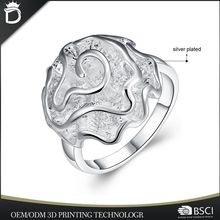Wholesale latest design dainty silver jewelry casting rose flower wedding bands ring