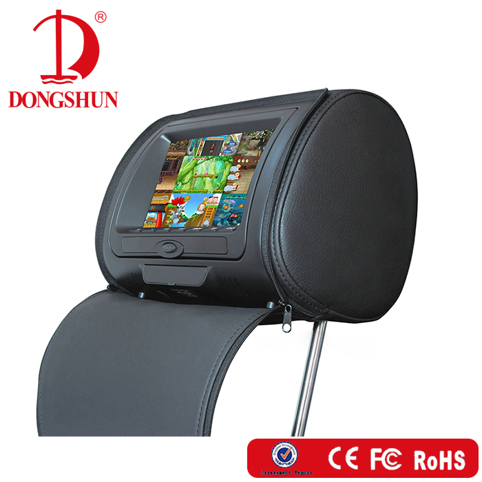 7 inch car headrest monitor with leather zipper,DVD,USB,SD