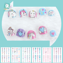 Cartoon Nail Art Stickers 3D Nail Art Decoration Self-adhesive Tip Stickers With Unicorn Designs For Kids