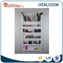 wholesale professional wooden wall mounted makeup displays cabinet for eyeshadow and brush storage