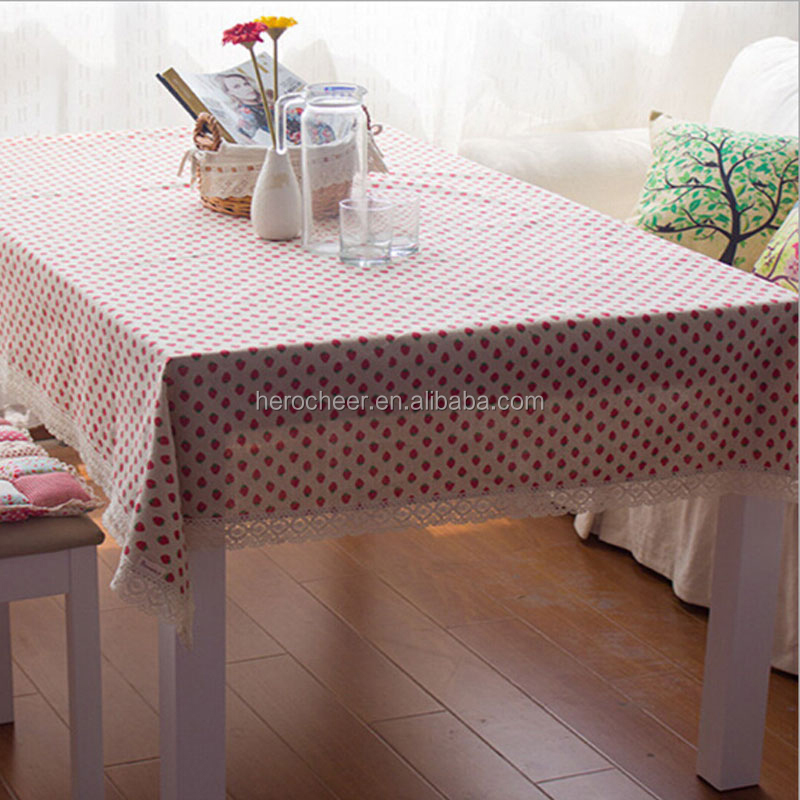 Pastroal strawberry home furnishing rectangular fitted linen table cloth