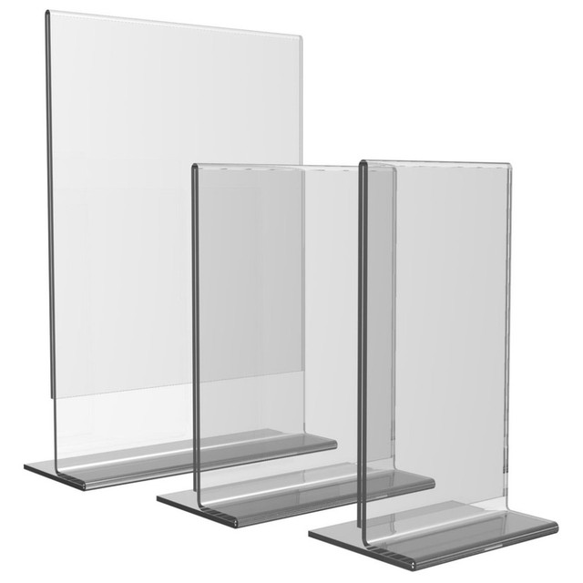 Clear Acrylic Paper Holder Plexi Display Stand Ad Frame Acrylic Sign Holder