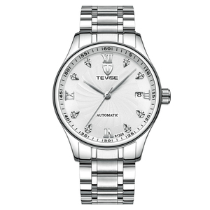 WJ-7647 TEVISE Brand Simple Watch Automatic Mechanical Movt Luxury Wristwatch Stainless Steel Band Men Watch