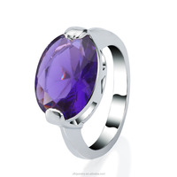Charming amethyst 18K white Gold plated big gemstone finger rings