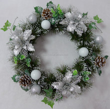 2017 wholesale new design 10 inch artificial christmas wreath with flower and pine cone