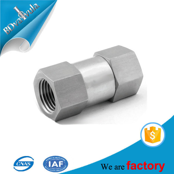 6000 psi SS304 SS316 non return spring loaded one way check valve