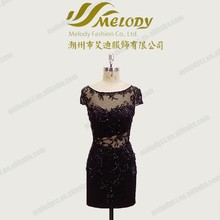 Little black dress cocktail knee-length dress tulle emboridery see through bodycon evening sexy dress