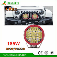 New product 9'' round led work lamp black/red housing super bright 185w led driving light ip68