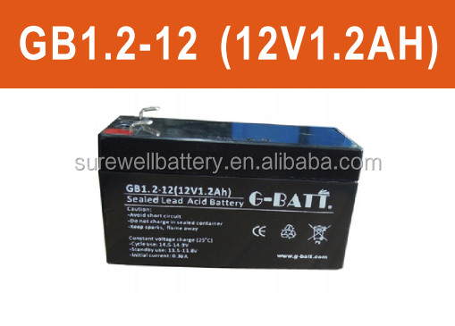 12V 1.2Ah Sealed lead acid SLA rechargeable battery for emergency light, UPS
