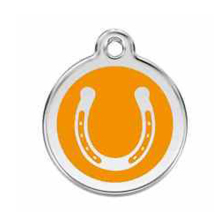 Lucky Horseshoe Orange Pet Dog Cat ID Tag