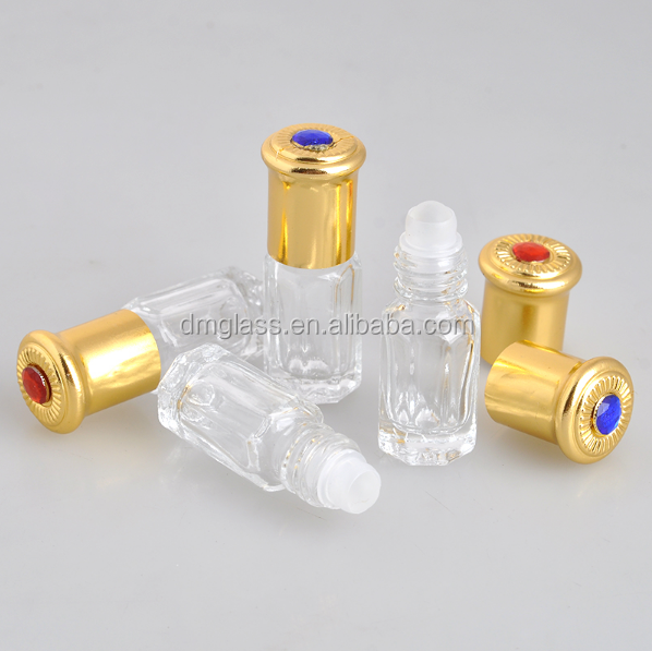 3ml roll on oud oil glass bottle with diamond golden cap