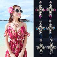European baroque royal palace retro crystal pierced alloy earrings cross