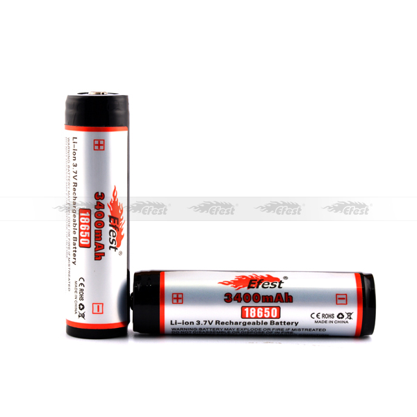 Genuine electronic cigarette mods Efest 18650 3400mAh 3.7V Protected Li-ion Button Top Battery