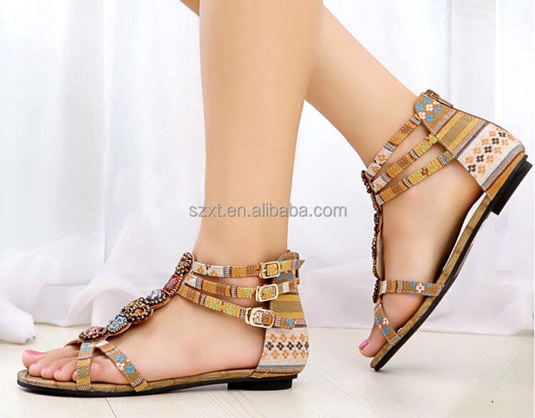 India womens fashion beading sandal new model womens bohemia flat sandal 2014 summer girls fancy sandal