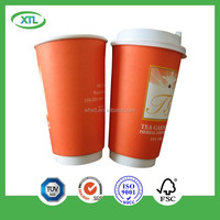 customized logo printed paper cup Kraft Ribbed 8oz Double Wall Hot Drink Cups with coverx