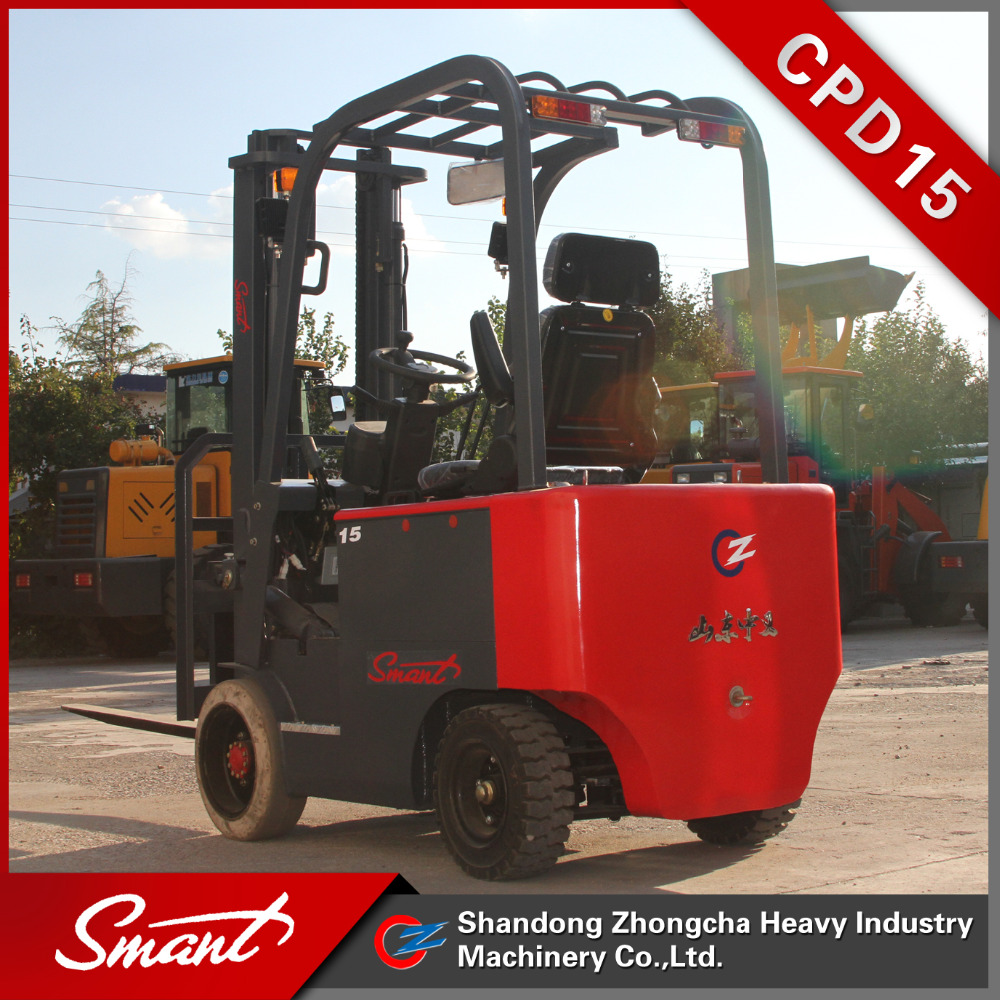 Super quality 4 wheels 1.5 ton capacity electric forklift rider lift truck for sale